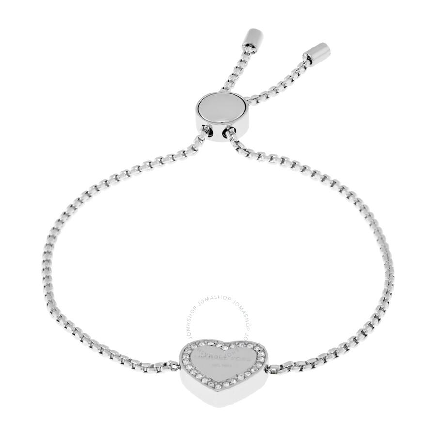 e53a22448a0e8 Michael Kors Heart Charm Silver-Tone Bracelet MKJ5390040 - Michael ...