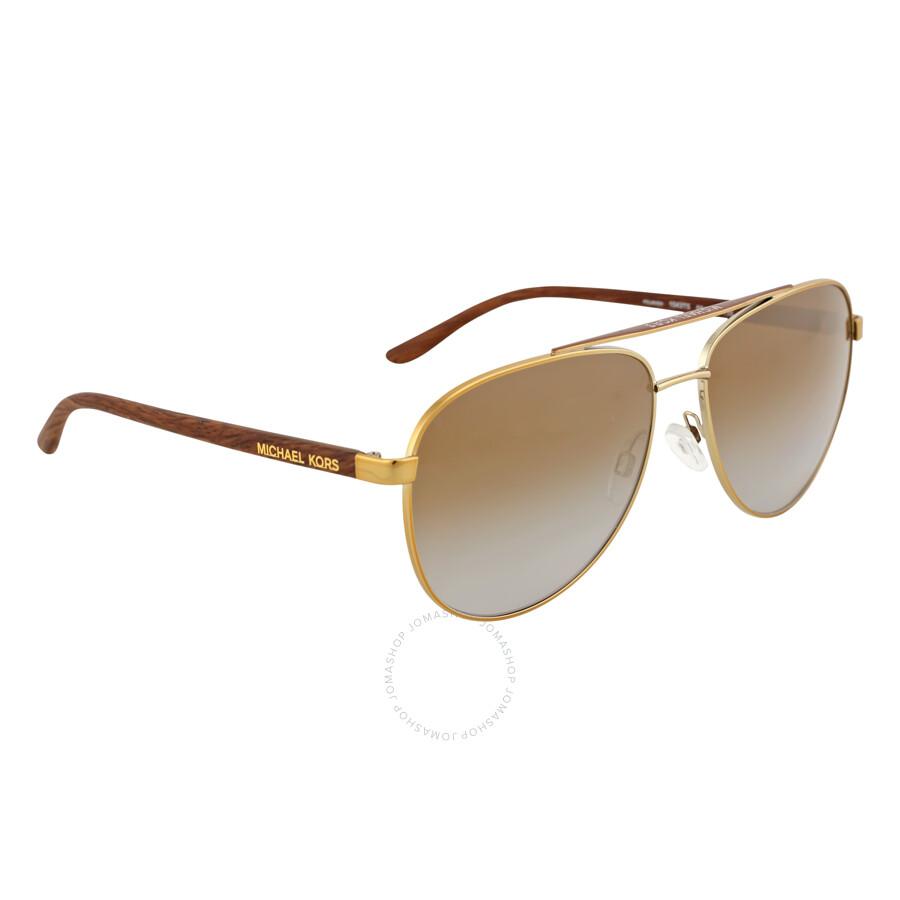 ... Michael Kors HVAR Aviator Gold Wood/Brown Gradient Polarized Sunglasses MK5007 1043T5 59-14 ...