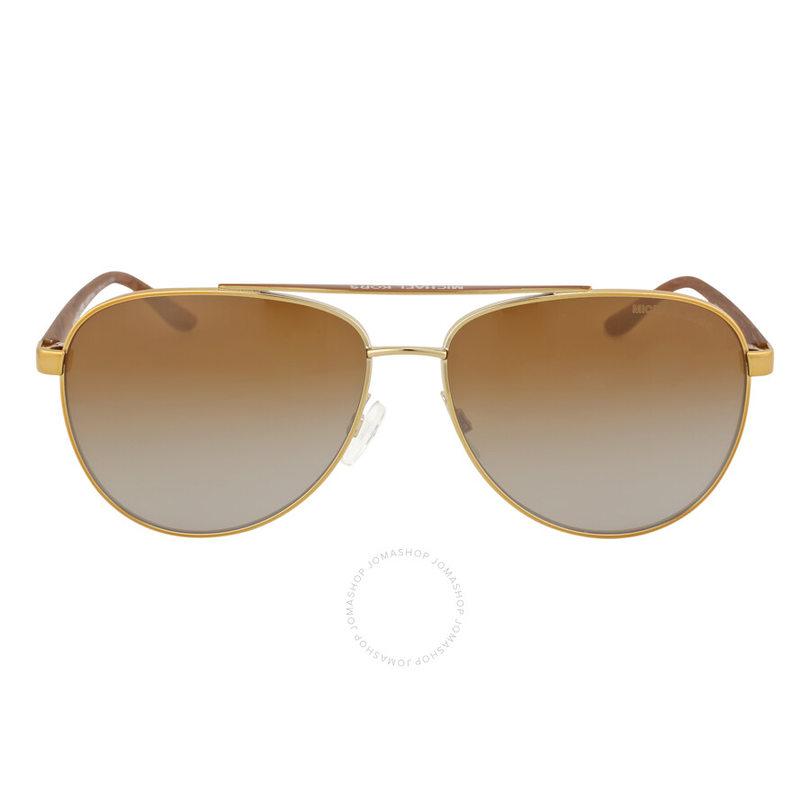ab10cf55506 Michael Kors HVAR Aviator Gold Wood Brown Gradient Polarized Sunglasses  MK5007 1043T5 59-14 ...