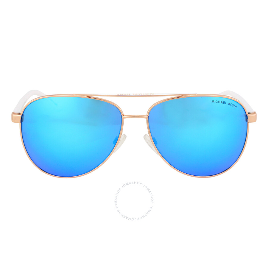 12c18eec34 Michael Kors HVAR Aviator Sunglasses - Rose Gold Blue Mirror Item No.  0MK5007-104525-59