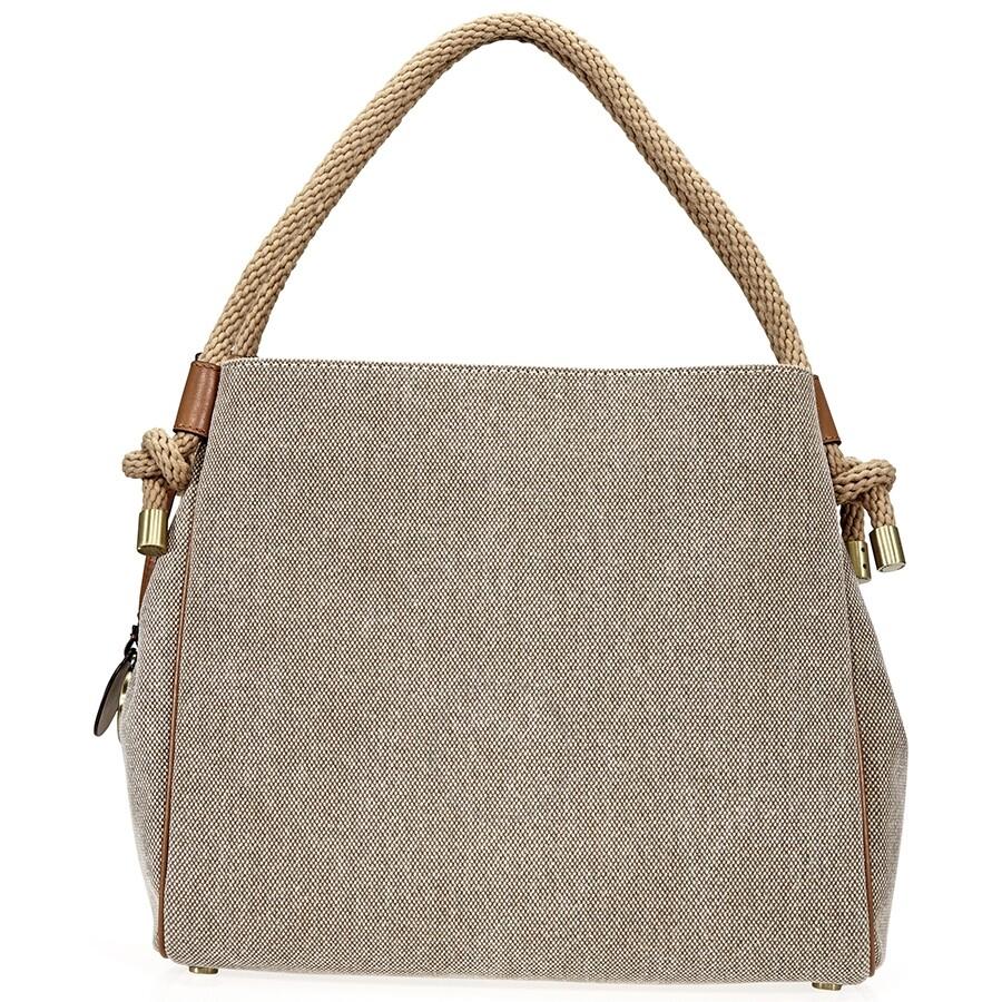 d280ff386bfac0 Michael Kors Isla Large Canvas Shoulder Bag- Natural - Michael Kors ...