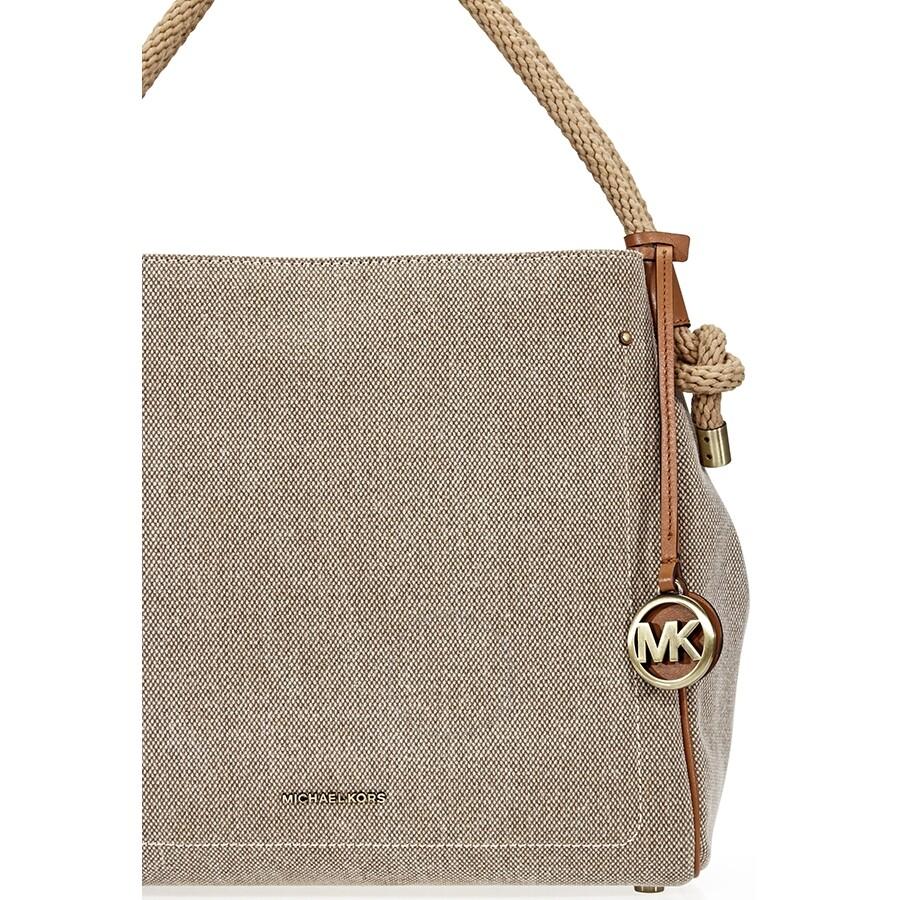 Michael Kors Isla Large Canvas Shoulder Bag Natural