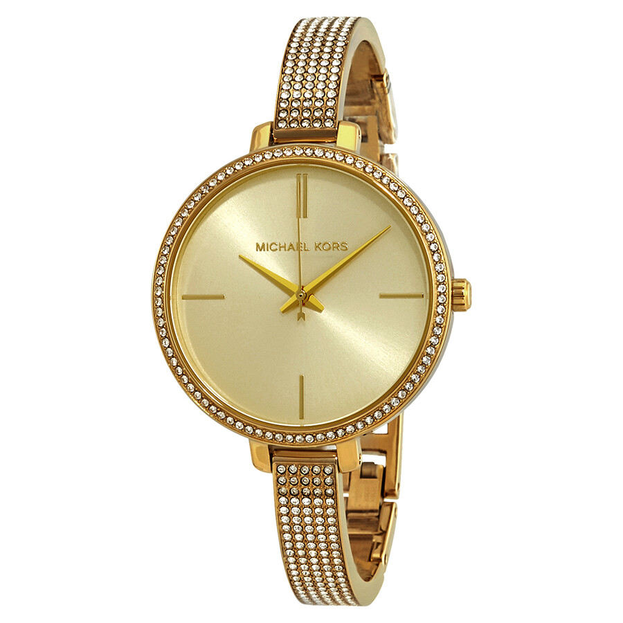 b90ec8c4cc6f Michael Kors Jaryn Crystal Gold Sunray Dial Ladies Watch MK3784 ...