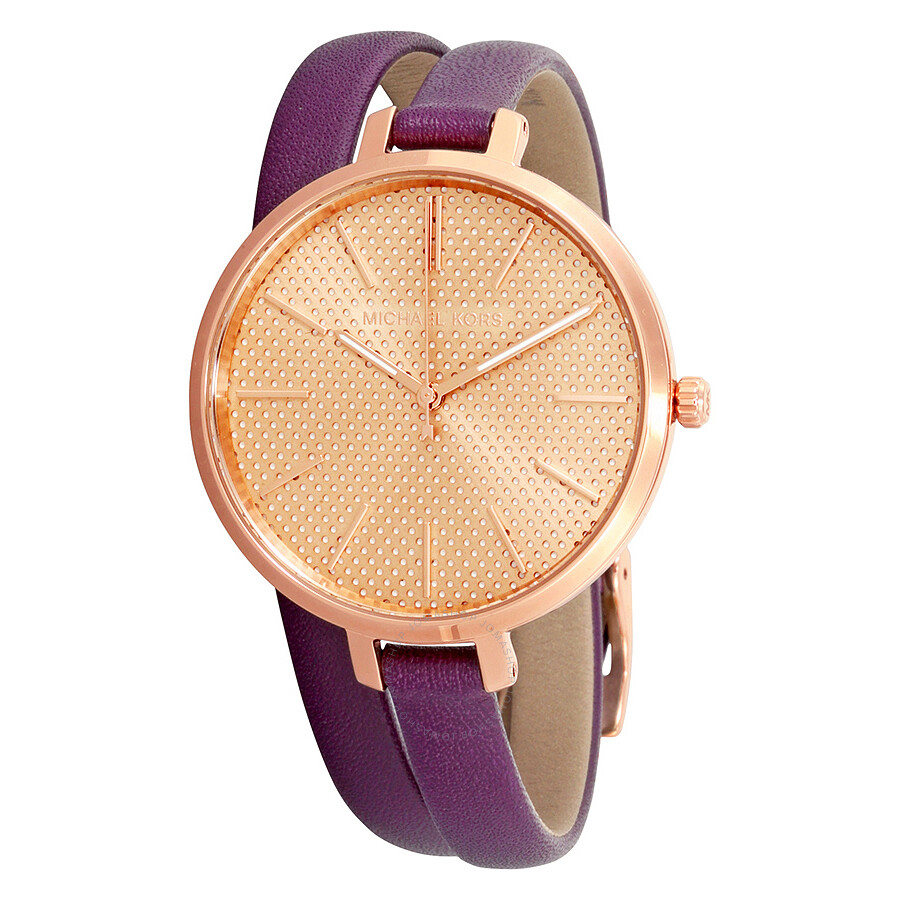 Michael Kors Jaryn Rose Gold Dial Plum Leather Ladies Watch Mk2576