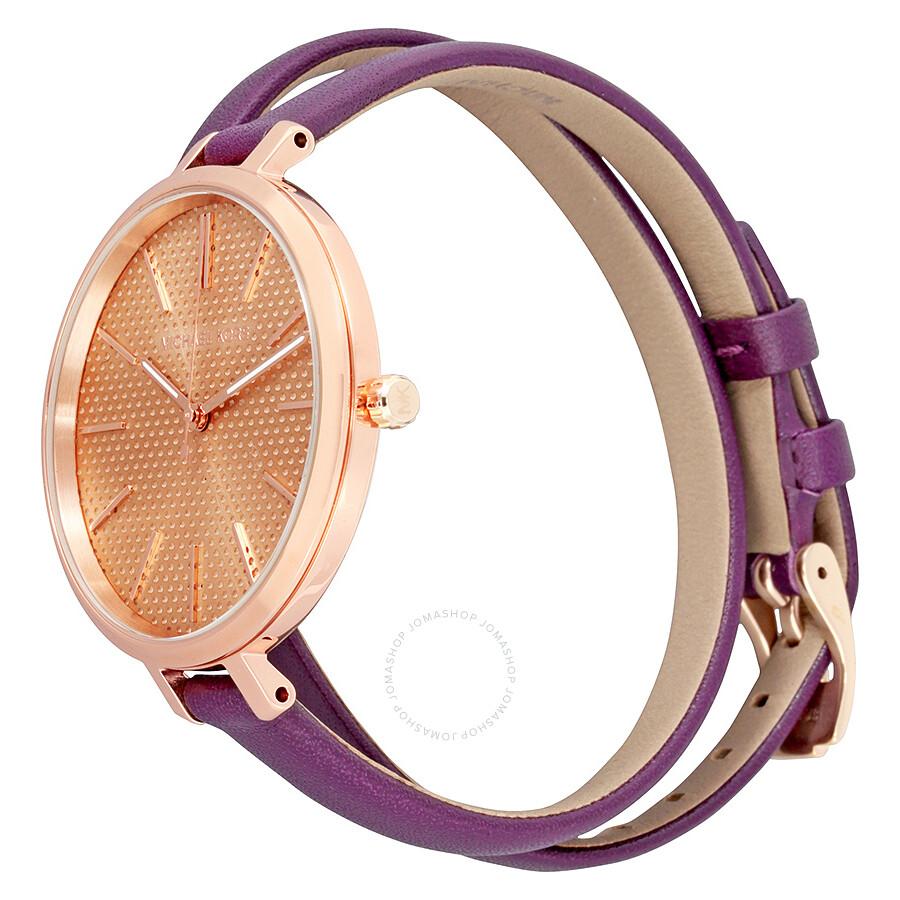 4bbd5bb839ce3 ... Michael Kors Jaryn Rose Gold Dial Plum Leather Ladies Watch MK2576 ...