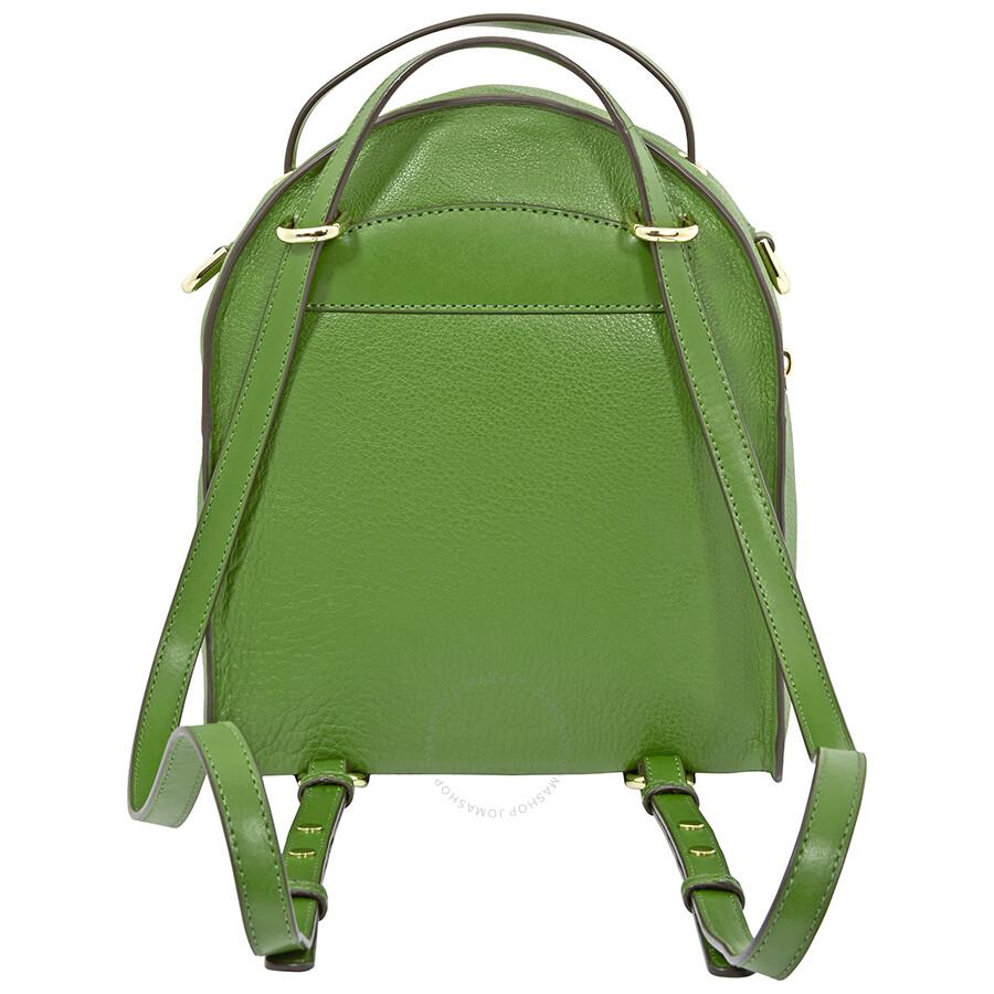 1958c1d85f Michael Kors Jessa Small Pebbled Leather Convertible Backpack- True Green