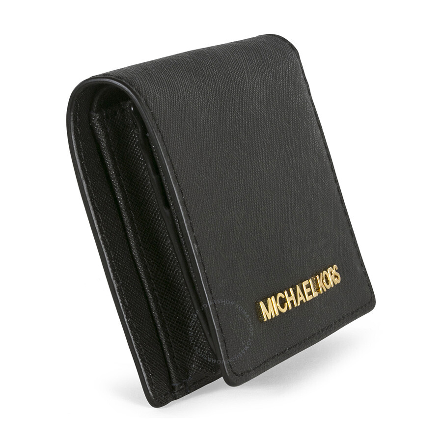001aee9ac816 Michael Kors Jet Set Black Leather Travel Flap Card Holder - Jet Set ...