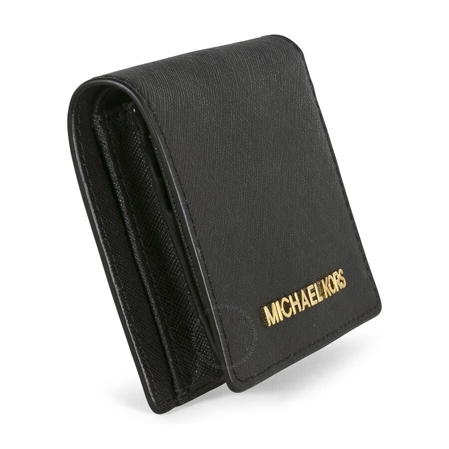 74a5a28f279e Michael Kors Jet Set Black Leather Travel Flap Card Holder - Jet Set ...