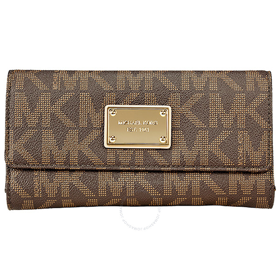 08d4b5ba7884 Michael Kors Jet Set Checkbook Wallet in Brown - Jet Set - Michael ...