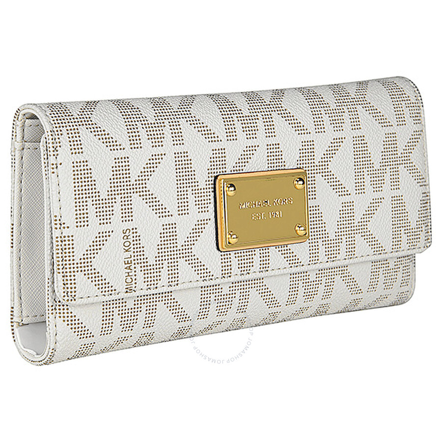 69c367e412e851 Michael Kors Jet Set Checkbook Wallet in Vanilla - Cream - Jet Set ...