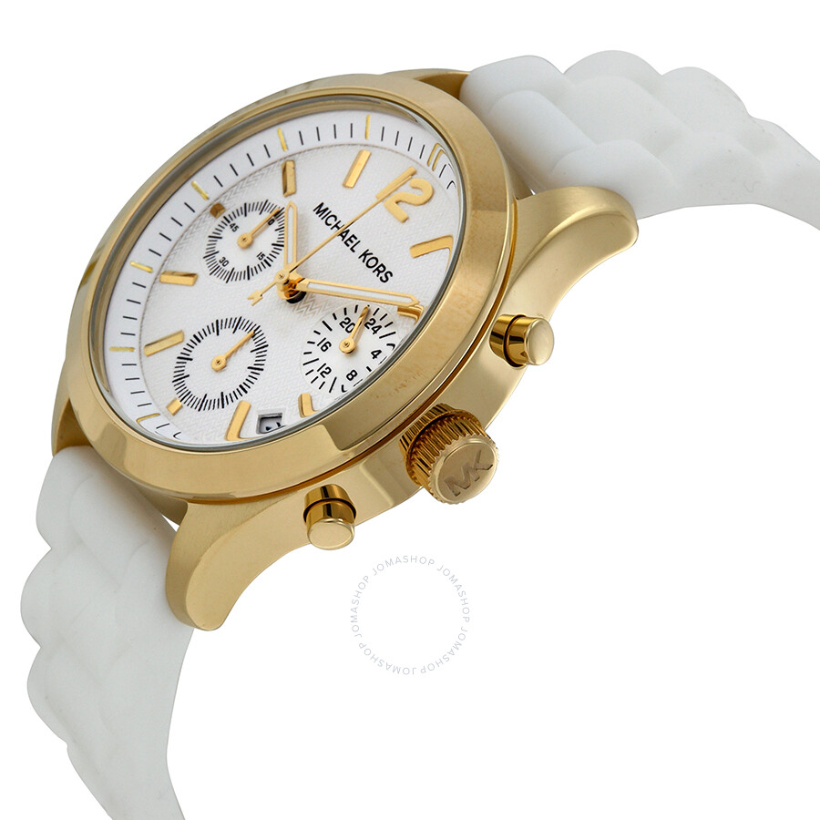 376187858fa9 ... Michael Kors Jet Set Chronograph Whire Dial White Silicone Ladies Watch  MK5406 ...