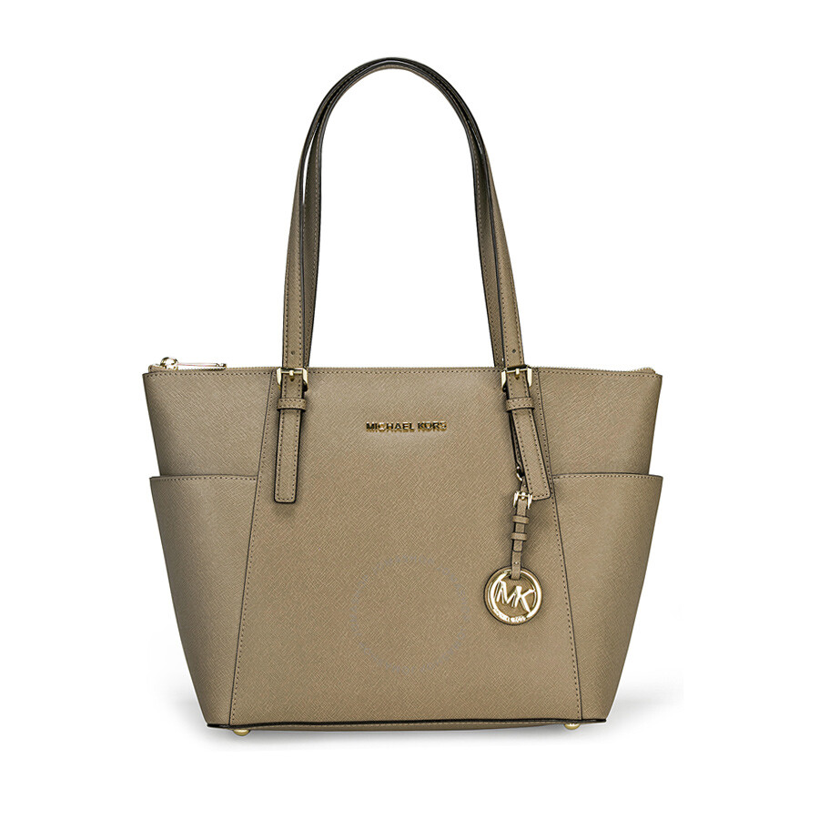 Michael Kors Jet Set East West Top Zip Dune Leather Tote Handbag