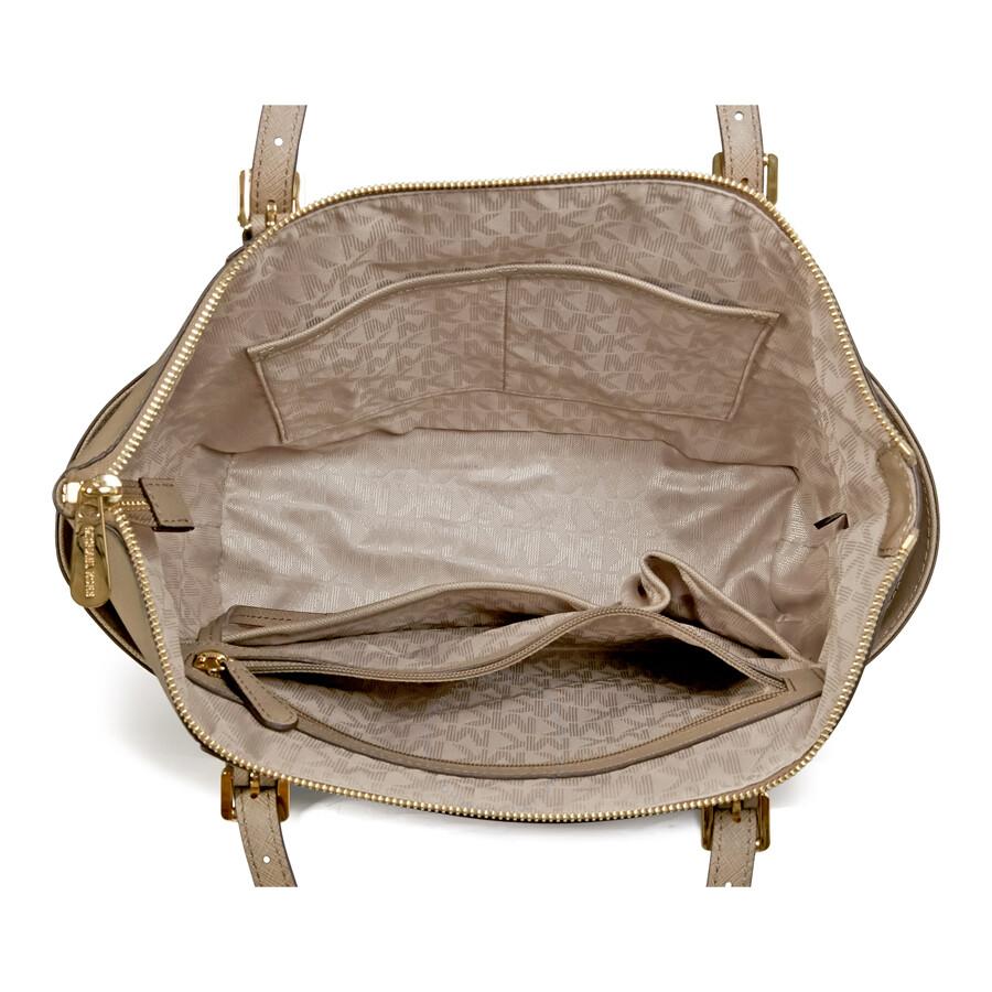 27378fa2f3dba6 Michael Kors Jet Set East West Top Zip Dune Leather Tote Handbag ...