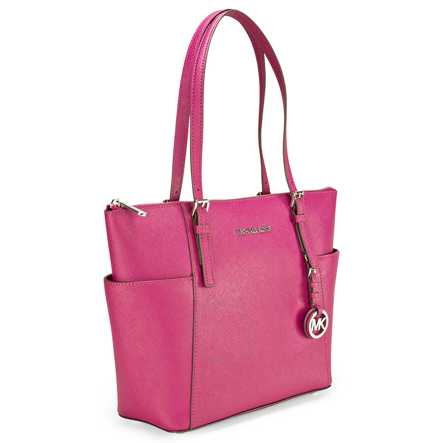 1408865434f6 Michael Kors Jet Set East West Top Zip Leather Tote - Deep Pink ...