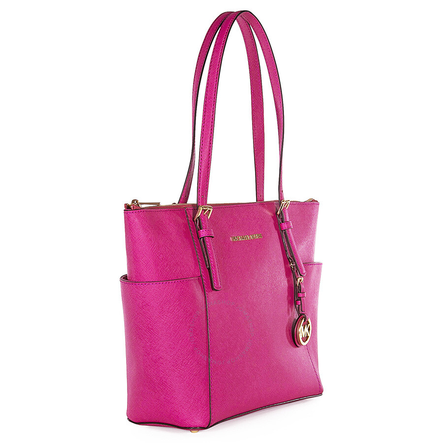1851c76417bf Michael Kors Jet Set East West Top Zipper Raspberry Leather Tote Item No.  30F2GTTT8L-562