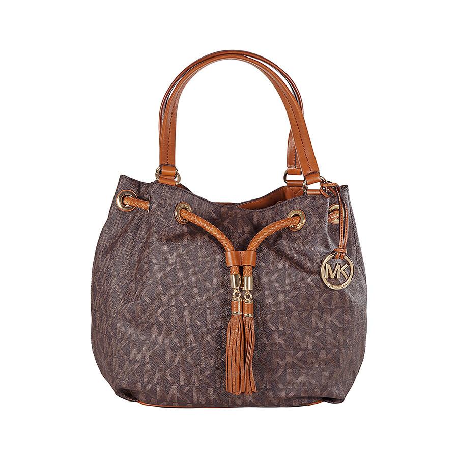 michael kors jet set gathered large tote handbag in brown. Black Bedroom Furniture Sets. Home Design Ideas