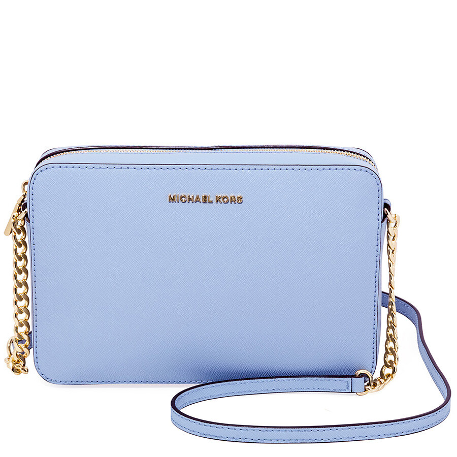 ffad5ffc5e41 Michael Kors Jet Set Large Saffiano Leather Crossbody - Pale Blue Item No.  32S4GTVC3L-487