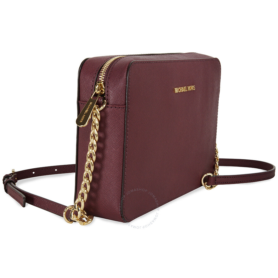 df16176ff0e224 Michael Kors Jet Set Large Saffiano Leather Crossbody - Plum - Jet ...