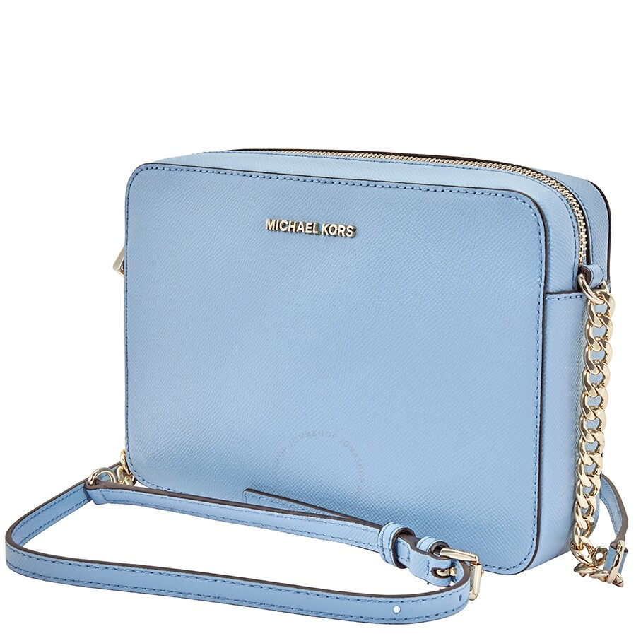 b867eb95b37a Michael Kors Jet Set Large Saffiano Leather Crossbody- Powder Blue Item No.  32T8TF5C4L-424