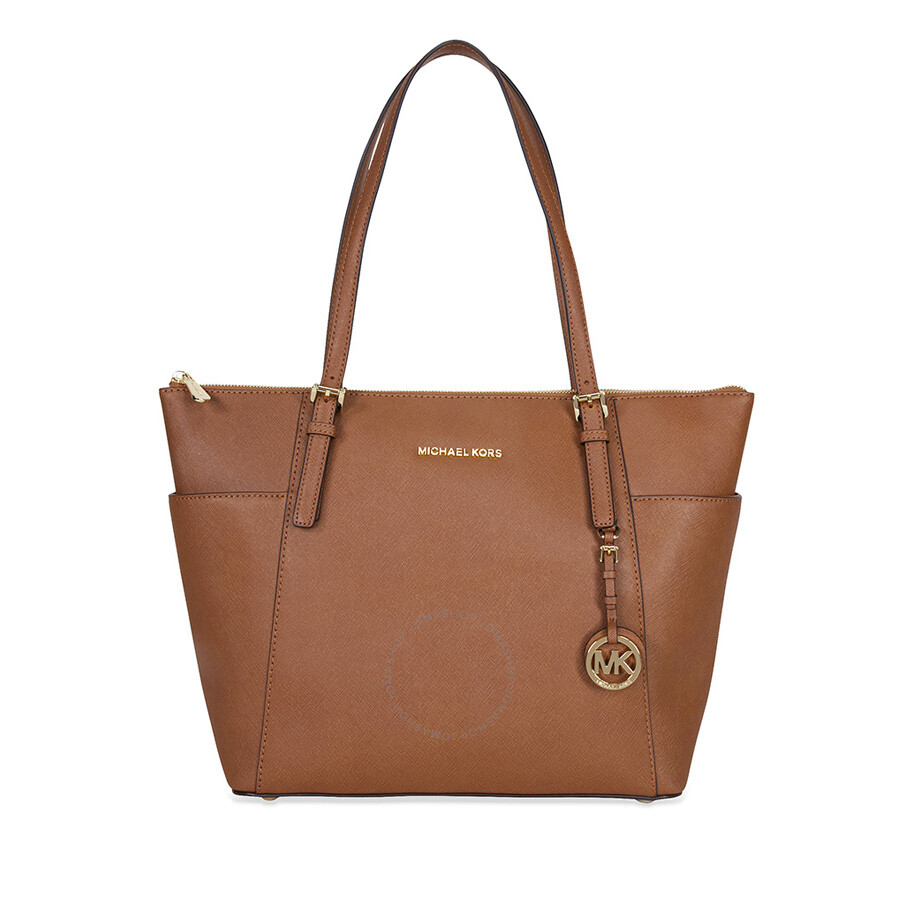 Michael Kors Jet Set Top-Zip Saffiano Leather Tote in Luggage - Large