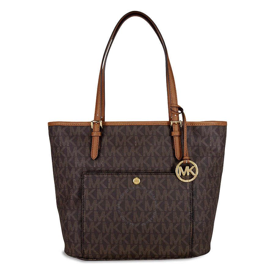 michael kors jet set top zip snap pocket tote signature brown large jet set michael kors. Black Bedroom Furniture Sets. Home Design Ideas