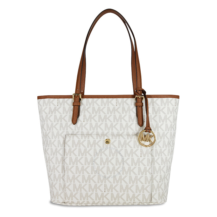 Bolsa Michael Kors Tote Vanilla : Michael kors jet set large top zip snap pocket tote