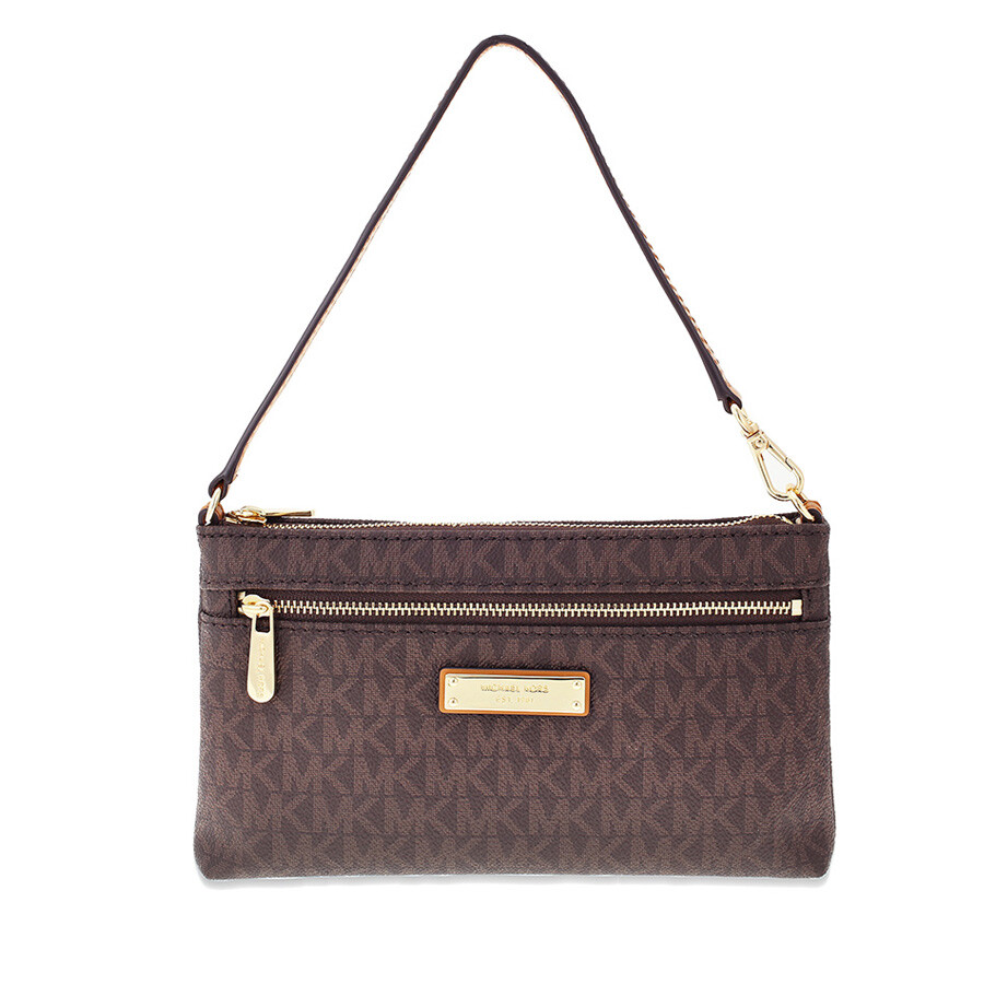 Michael Kors Laukkukoru : Michael kors jet set large wristlet brown