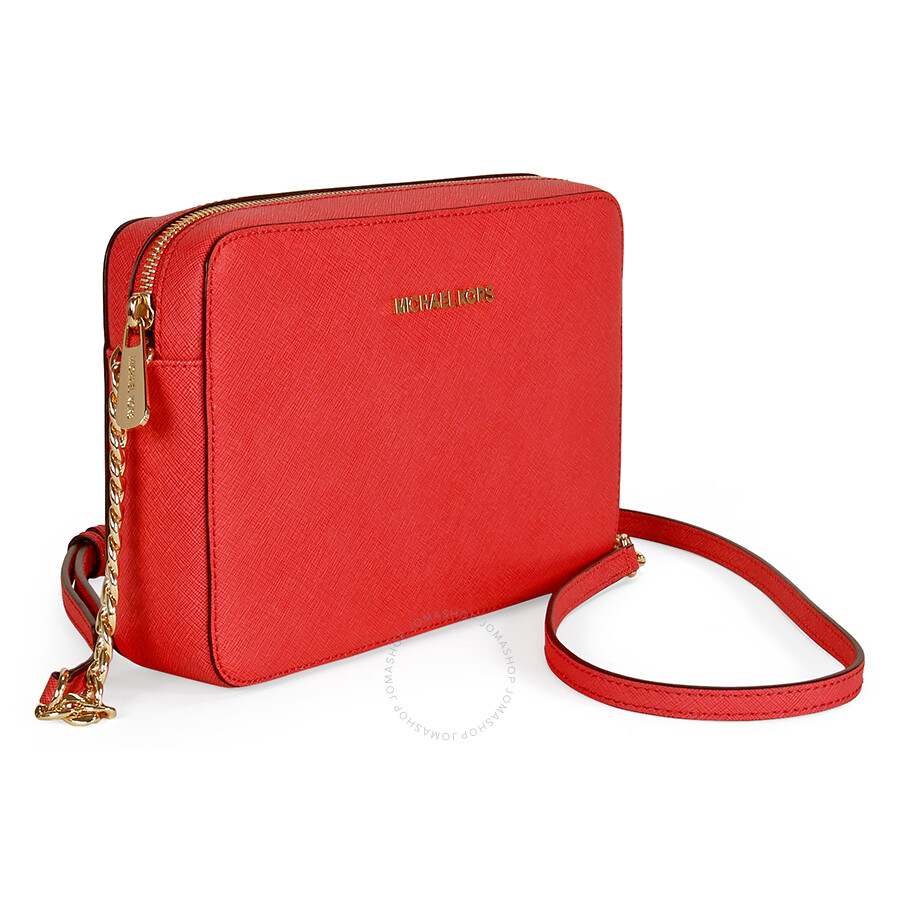 1efa3cbffef01c Michael Kors Jet Set Leather Large Crossbody Bag - Watermelon Item No.  32S4GTVC3L-596