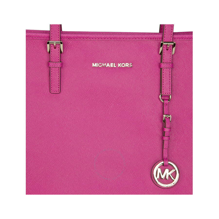42ee9aec61bb ... reduced michael kors jet set leather travel tote fuschia 514be fdb0d
