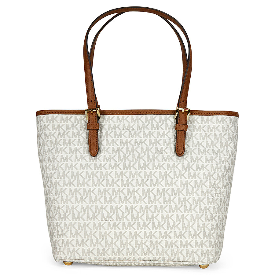 Bolsa Michael Kors Tote Vanilla : Michael kors jet set medium top zip logo tote vanilla