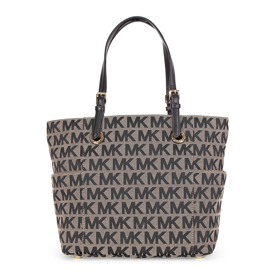 1ca1bd2f3c03 Michael Kors Jet Set Monogram Signature Logo Tote - Beige and Black ...