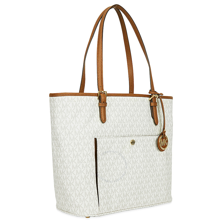 07f210535662 Michael Kors Jet Set Monogram Travel Logo Tote - Vanilla - Jet Set ...
