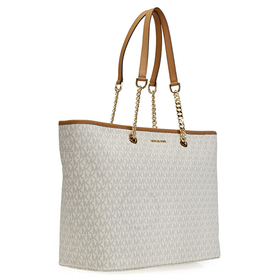 a85b2f488593 ... Michael Kors Women's Medium Jet Set Travel Multifunction Leather & Chain  Top-Handle Tote ...