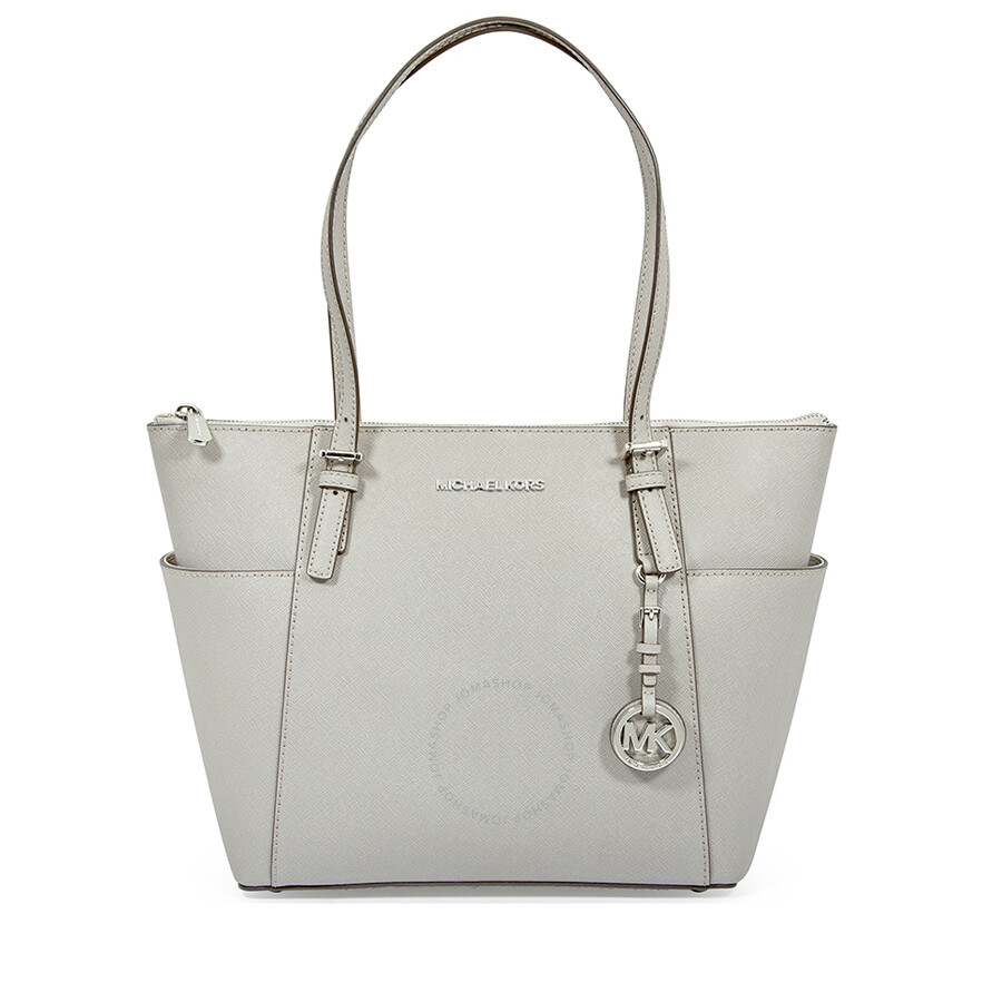 5dcbad2544 Michael Kors Jet Set Pearl Grey Saffiano Leather Zip-Top Tote Item No.  30F2STTT8L-081