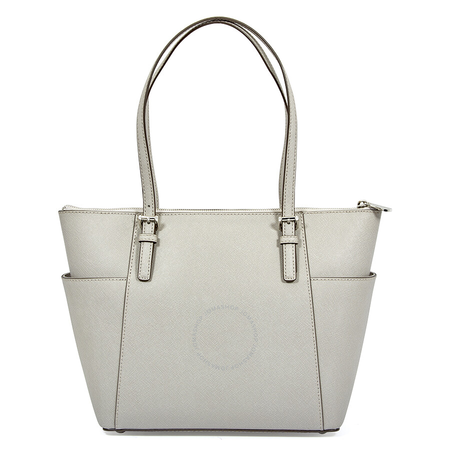 29a553fcdf2cd4 Michael Kors Jet Set Pearl Grey Saffiano Leather Zip-Top Tote - Jet ...