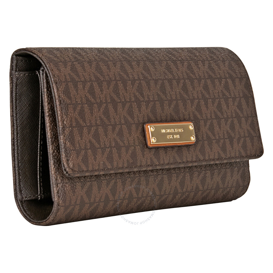 ee903b5bd12f Michael Kors Jet Set PVC Checkbook Wallet - Brown - Jet Set ...