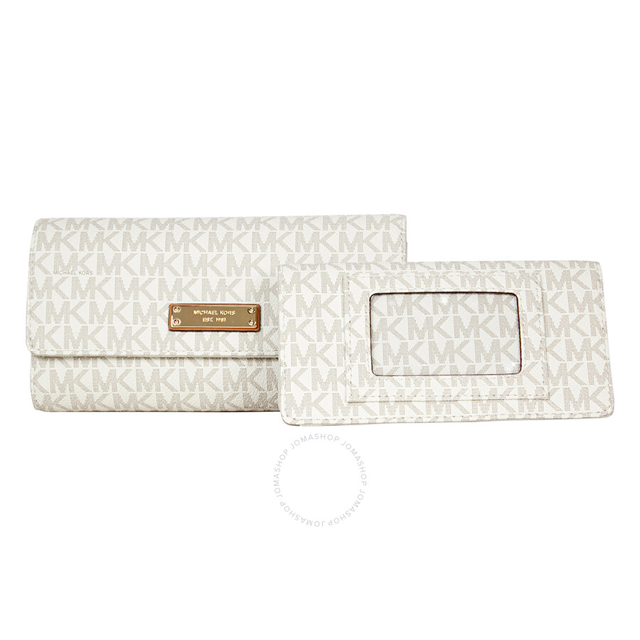 cd245f813c98 Michael Kors Jet Set PVC Checkbook Wallet - Vanilla - Jet Set ...