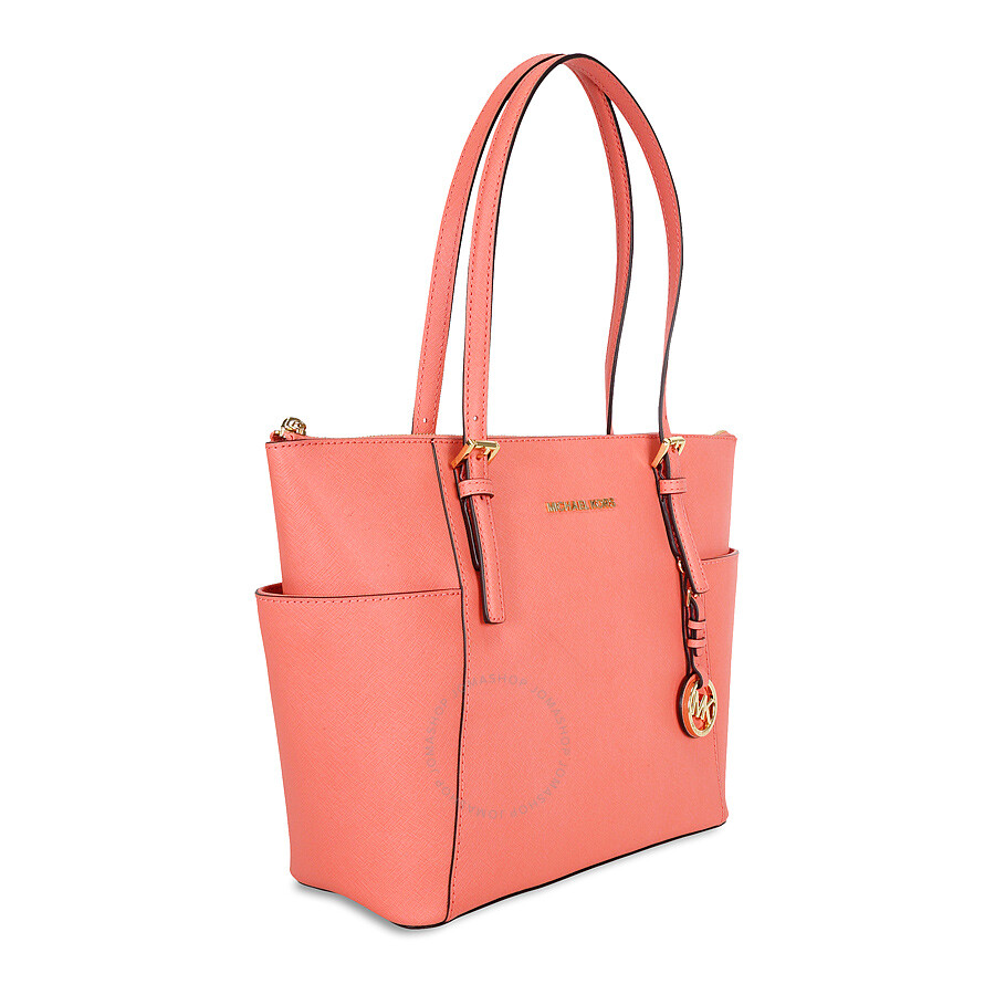de9b21811378 Michael Kors Jet Set Saffiano Leather Tote Bag - Pink Grapefruit ...
