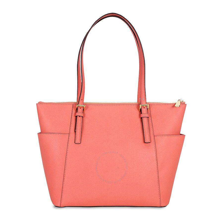 Michael Kors Jet Set Saffiano Leather Tote Bag Pink