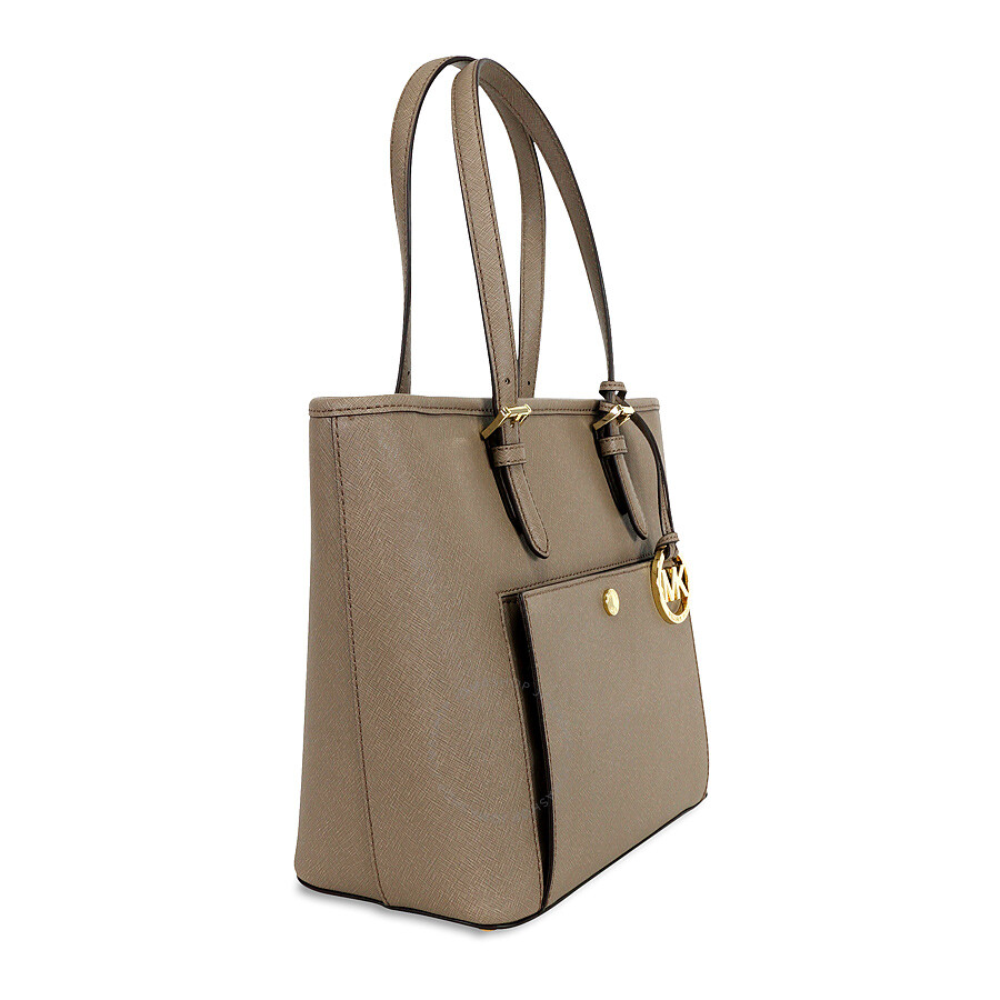 f017350d6120 Michael Kors Jet Set Saffiano Medium Top Zip Tote - Dark Dune - Jet ...