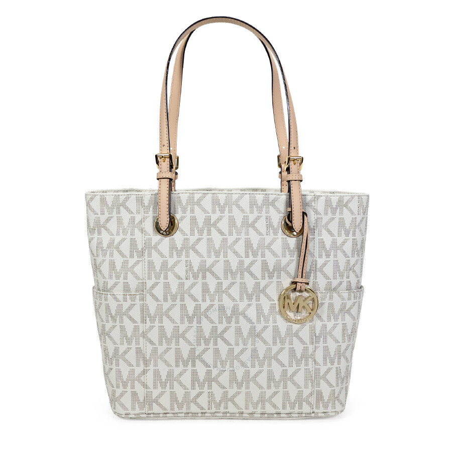 985173227e17 Michael Kors Jet Set Signature Logo Tote Handbag In Vanilla Cream