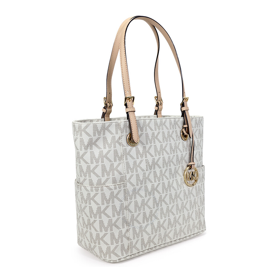 Michael Kors Jet Set Signature Logo Tote Handbag In Vanilla Cream