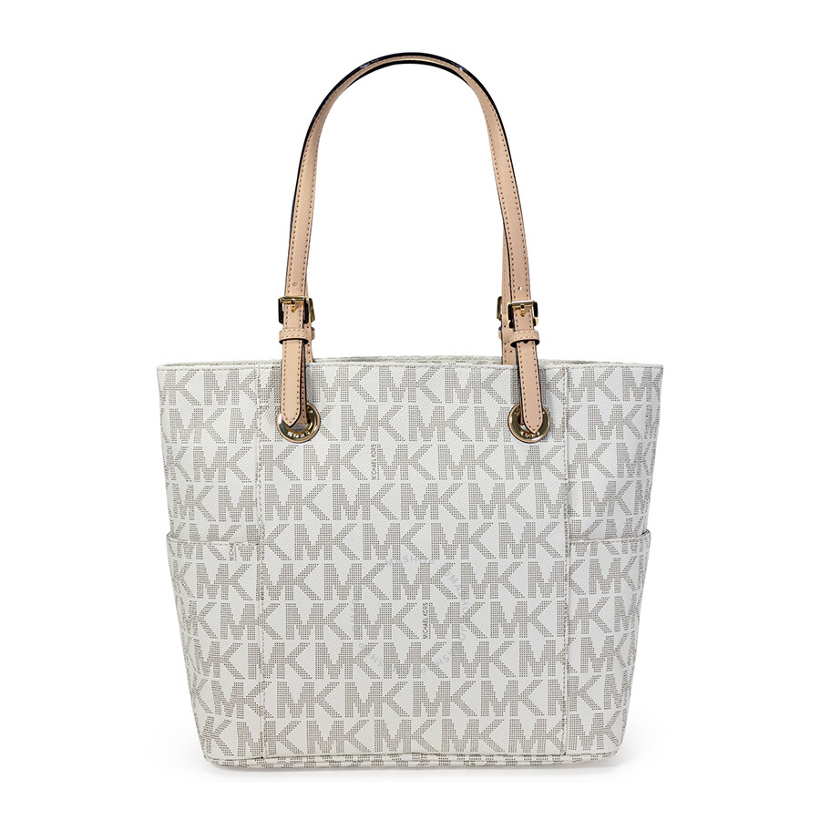 6f7ae6518565e Michael Kors Jet Set Signature Logo Tote Handbag in Vanilla - Cream Item  No. MK30S11TTT4B-150