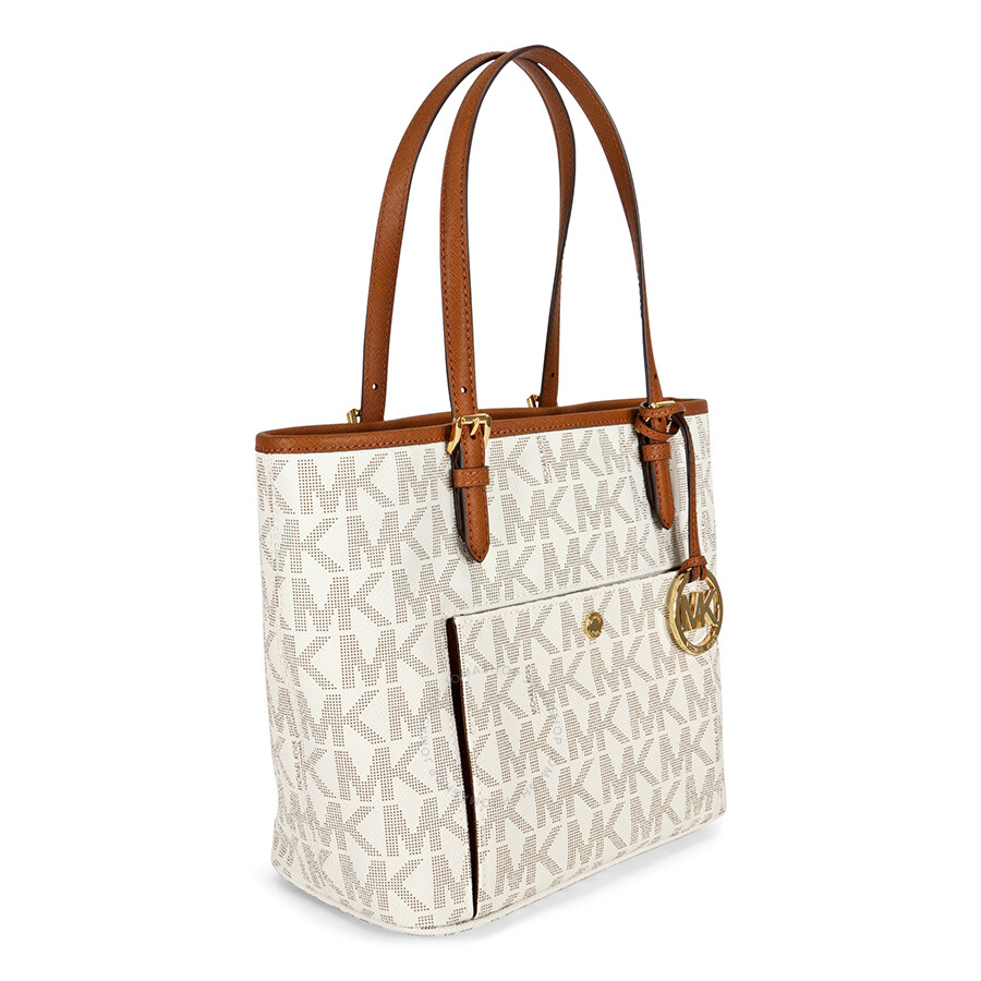 af5e6c6e4281 Michael Kors Jet Set Snap Pocket Medium Tote - Vanilla - Jet Set ...