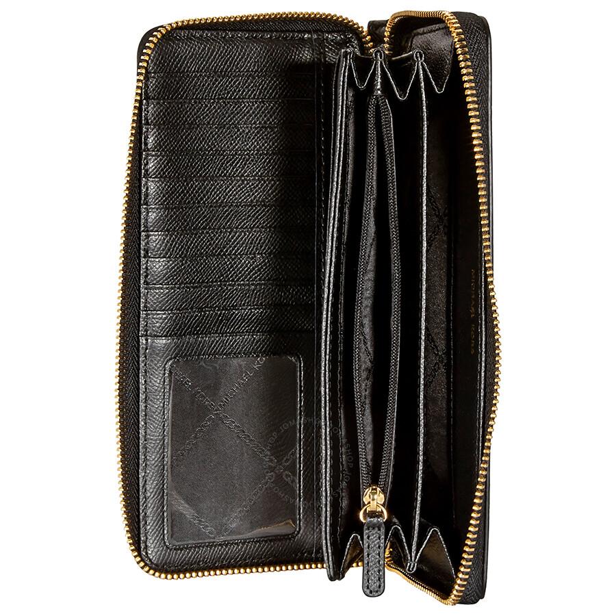 2ef27f2a0f35 Michael Kors Jet Set Travel Leather Continental Wallet - Black - Jet ...