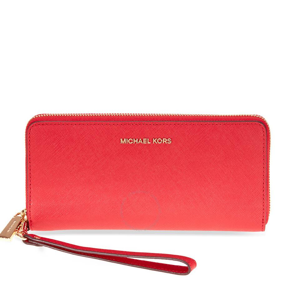 d0c34f4692705 Michael Kors Jet Set Tavel Leather Continental Wallet - Bright Red Item No.  32S5GTVE9L-204