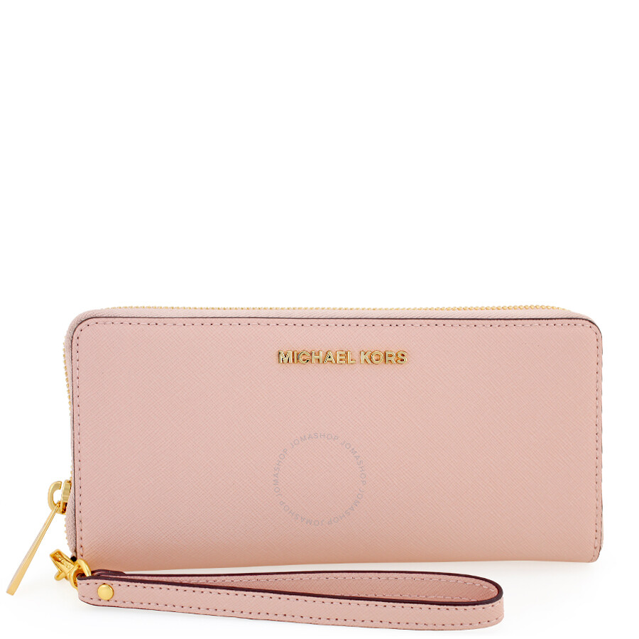 bf681c0a4325 Michael Kors Jet Set Tavel Leather Continental Wallet - Soft Pink Item No.  32S5GTVE9L-187