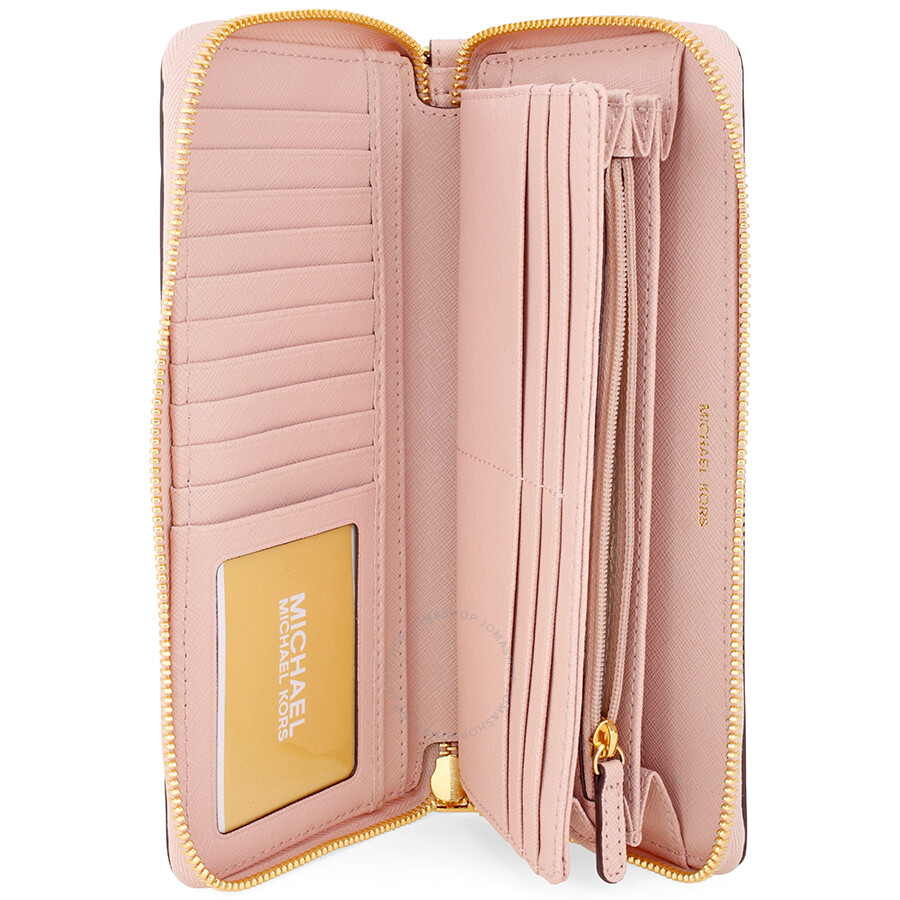 426adfa087b2 Michael Kors Jet Set Tavel Leather Continental Wallet - Soft Pink ...