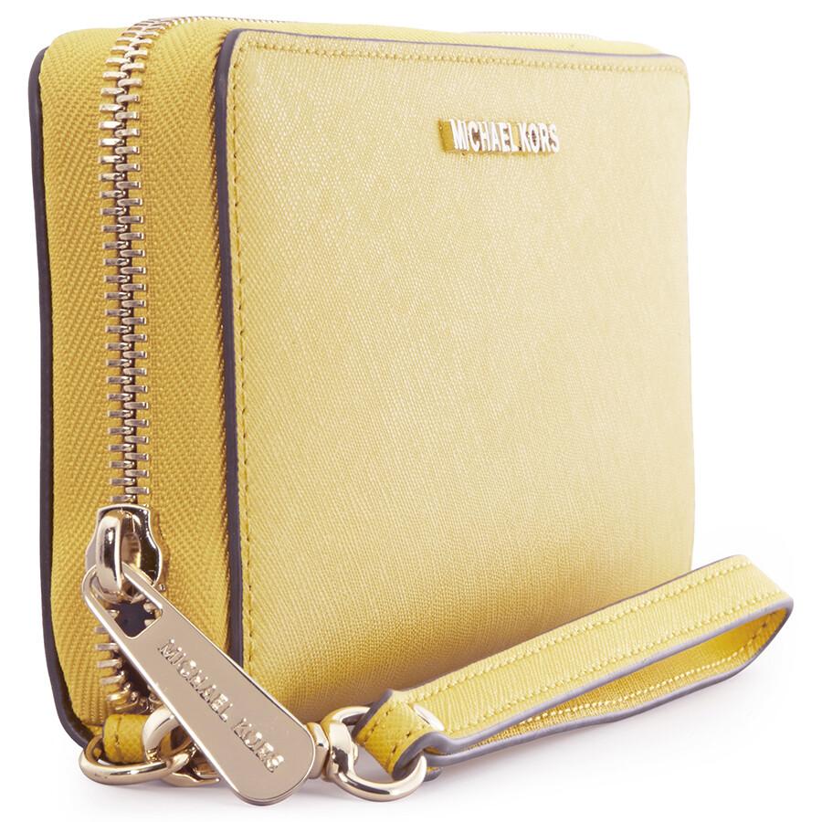 0f0b093c316e Michael Kors Jet Set Tavel Leather Continental Wallet - Sunflower ...
