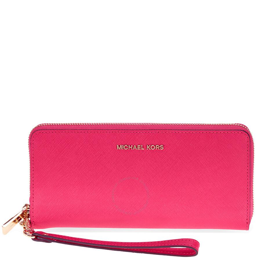 5e54f85c6f8b Michael Kors Jet Set Tavel Leather Continental Wallet - Ultra Pink Item No.  32S5GTVE9L-564